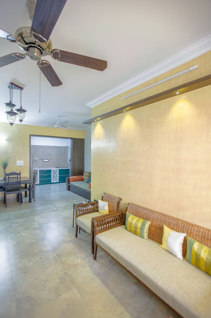 2 BHK in country Style Interiors :  Living room by In Built Concepts,Country Plywood