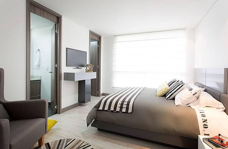 Apto  Felisa: Habitaciones de estilo  por Maria Mentira Studio