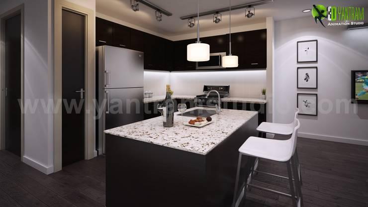 Esempio degli Interni soggiorno e cucina design von Yantram Design ...