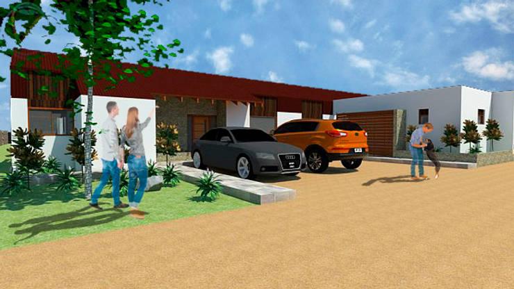 Casa 1-Vista acceso: Casas de estilo  por DIMA Arquitectura y Construcción