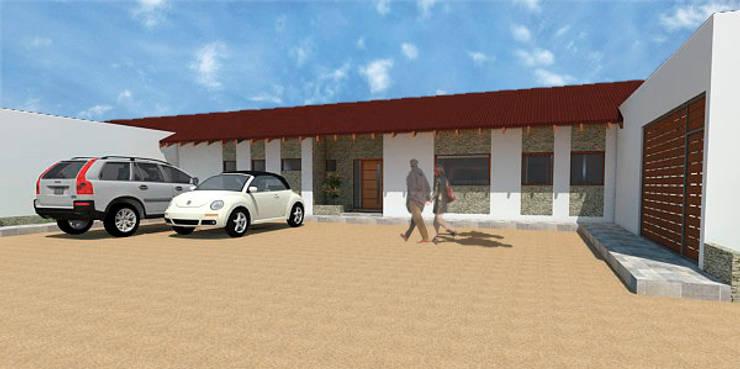 Casa 2-Vista acceso: Casas de estilo  por DIMA Arquitectura y Construcción