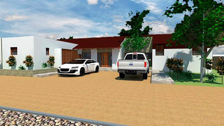 Casa 3-Vista acceso: Casas de estilo  por DIMA Arquitectura y Construcción