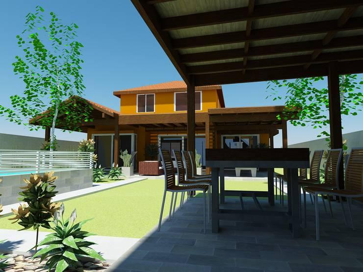 Vista desde Quincho: Terrazas  de estilo  por DIMA Arquitectura y Construcción