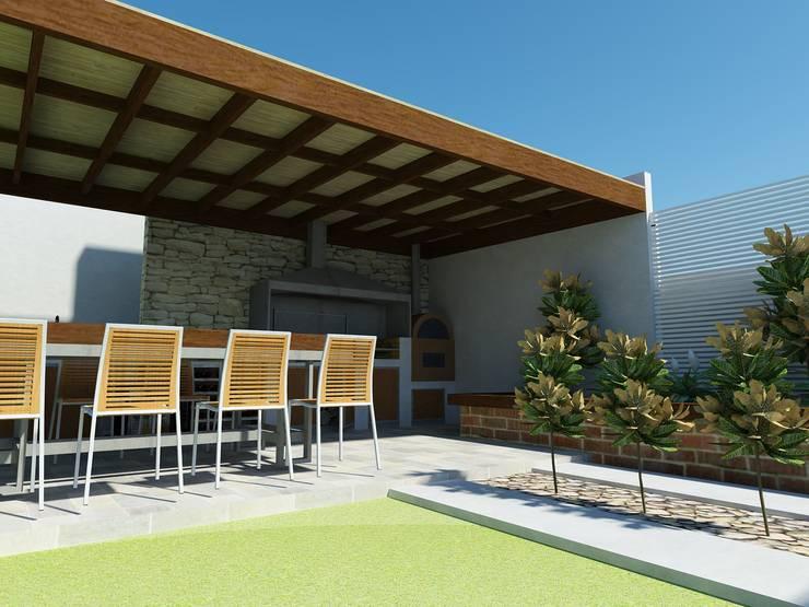 Vista a la jardinera posterior: Terrazas  de estilo  por DIMA Arquitectura y Construcción
