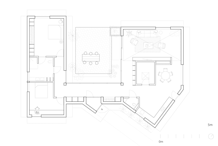 Plattegrond Patio House:   door Kevin Veenhuizen Architects