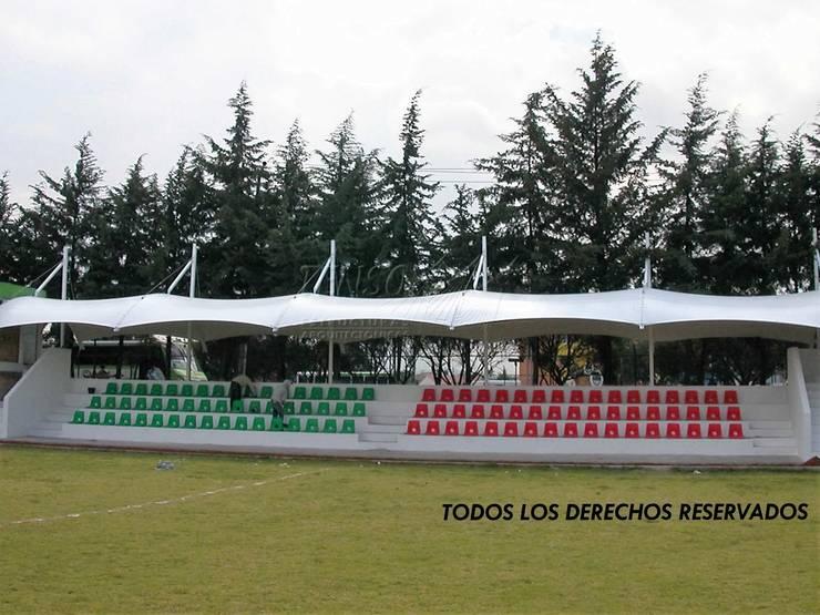 Cubiertas para gradas en Toluca: Estadios de estilo  por TENSO DISEÑOS MX , Moderno