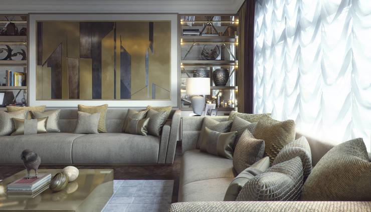living room+dining:  غرفة المعيشة تنفيذ m.frahat