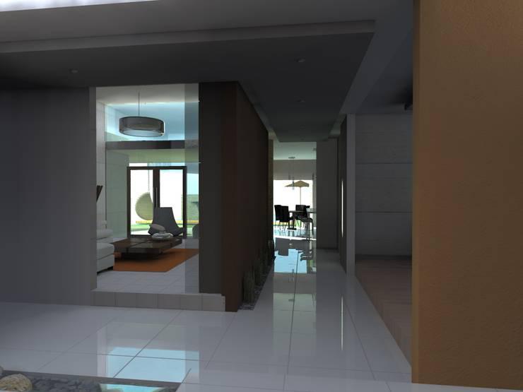 CL: Pasillos y recibidores de estilo  por Bustamante Sánchez & Asociados, Moderno