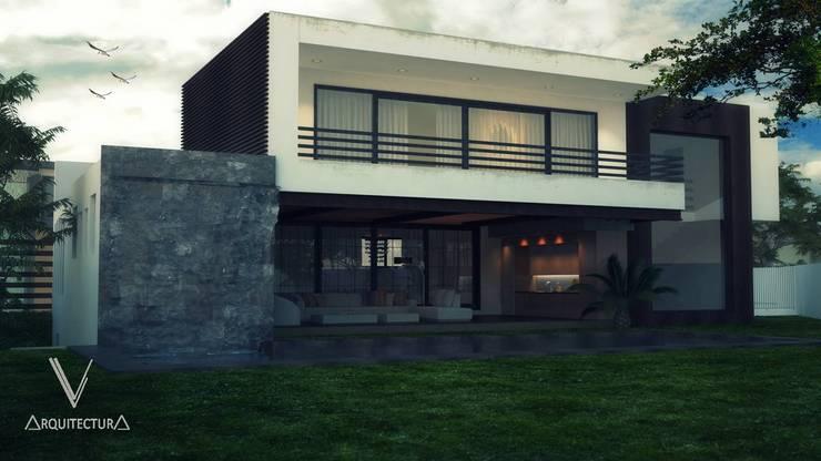 Fachada Posterior: Casas de estilo  por V Arquitectura, Moderno