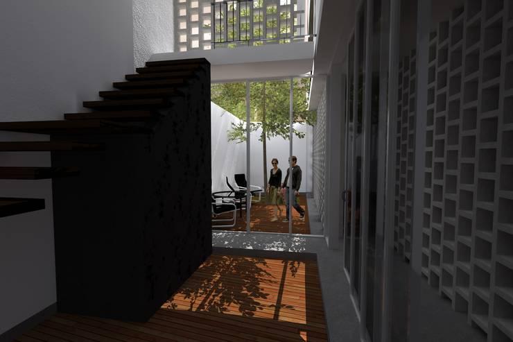 Casa Bernal: Salas / recibidores de estilo  por POMAC Arquitectos
