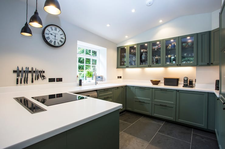 Beyaz Corian Mutfak Tezgahı: modern Kitchen by KREA Granit- Mutfak Banyo Tezgahları