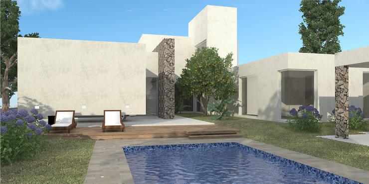 Vivienda LL – Manzanar Millenium, Cipolletti, Río Negro: Piletas de estilo  por ARKIZA