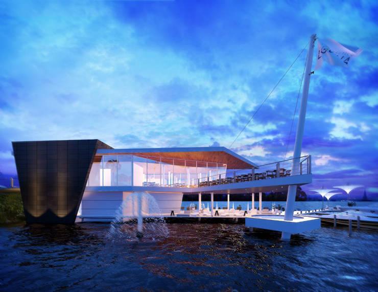 CLUB NÁUTICO: Espacios comerciales de estilo  por Art.chitecture, Taller de Arquitectura e Interiorismo 📍 Cancún, México., Moderno