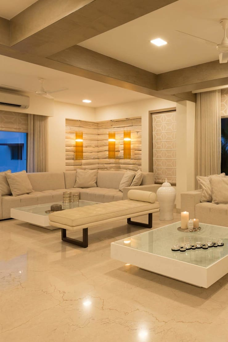 Proposed Interior of Bunglaow: asian Living room by KANAKIA INTERIOR AND CONSULTANCY
