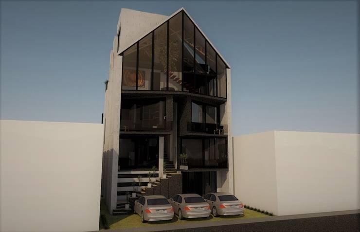 Fachada principal.: Casas de estilo  por Esse Studio, Moderno Concreto