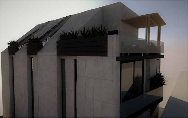 Vista parcial de la fachada trasera, terraza y spa.: Casas de estilo  por Esse Studio, Moderno Concreto