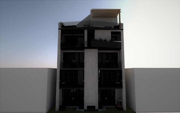 Fachada trasera.: Casas de estilo  por Esse Studio, Moderno Concreto