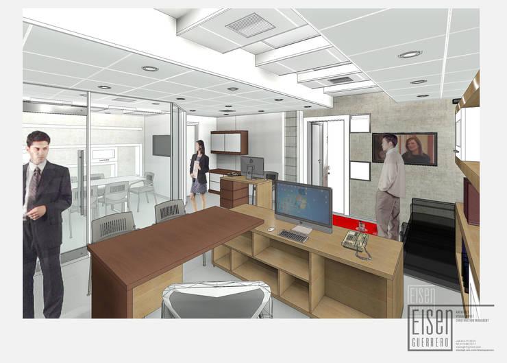 Vista 3D desde Escritorio ejecutivo.: Oficinas de estilo  por Eisen Arquitecto