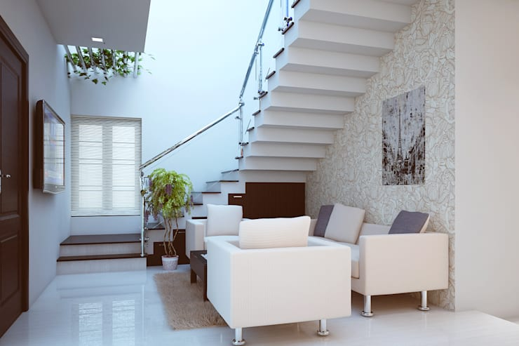 Modern interiors:  Living room by Cazina