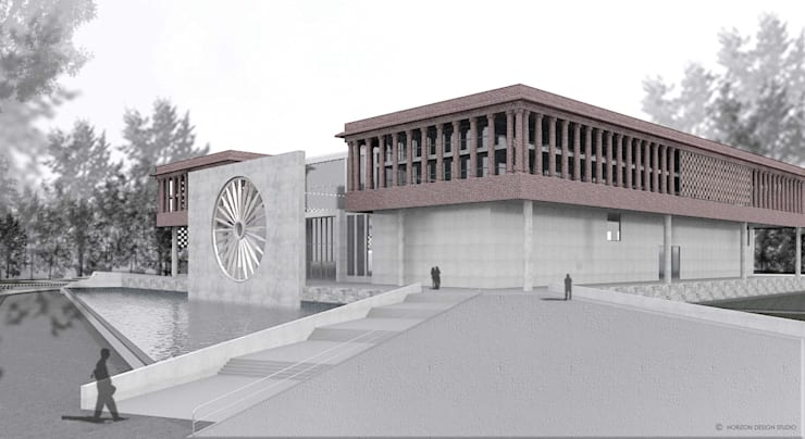 FRONT AND EAST SIDE VIEW OF PROPOSED WAR MUSEUM:   by Horizon Design Studio Pvt Ltd