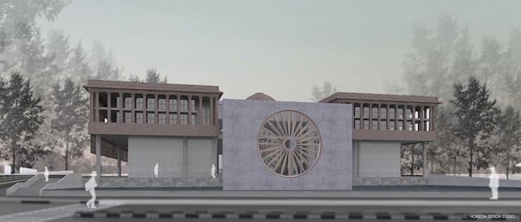 FRONT VIEW OF PROPOSED WAR MUSEUM FROM HEXAGON ROAD - INDIA GATE:   by Horizon Design Studio Pvt Ltd