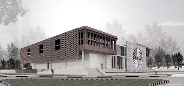 FRONT AND WEST SIDE VIEW OF NATIONAL WAR MUSEUM:   by Horizon Design Studio Pvt Ltd