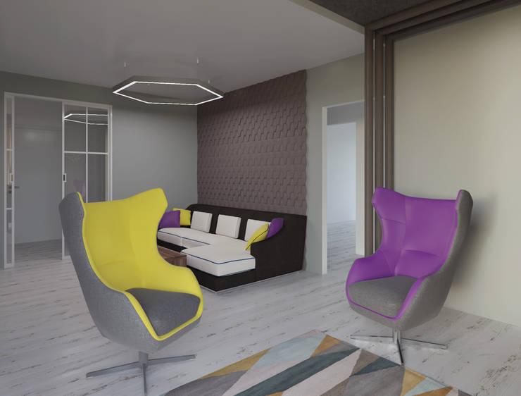 ห้องนั่งเล่น โดย Студия дизайна интерьера Маши Марченко, มินิมัล