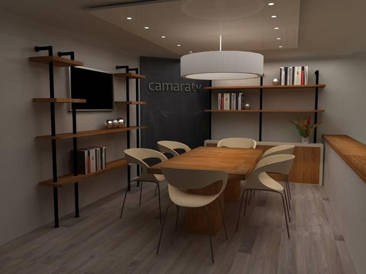 SALA DE JUNTAS CAMARATV Estudios y despachos de estilo industrial de SIMETRIC ARQUITECTURA INTERIOR Industrial Madera Acabado en madera