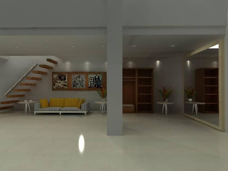 HALL Y VESTIER Pasillos, vestíbulos y escaleras de estilo industrial de SIMETRIC ARQUITECTURA INTERIOR Industrial Madera maciza Multicolor