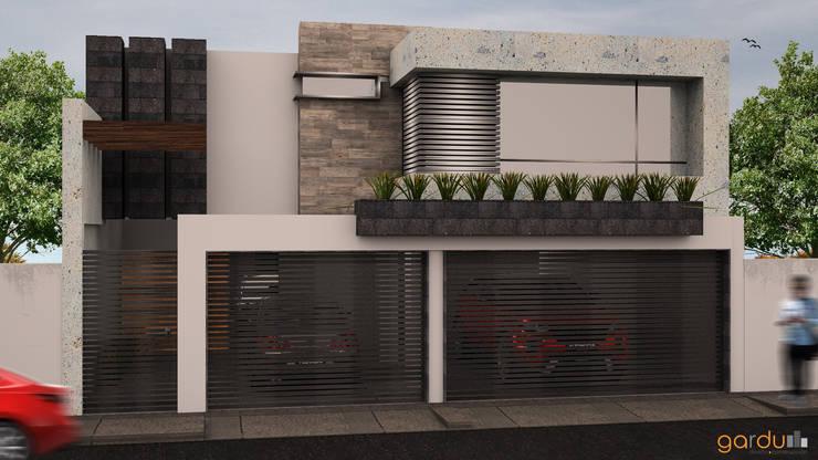 Fachada principal : Casas de estilo  por GarDu Arquitectos , Minimalista Piedra