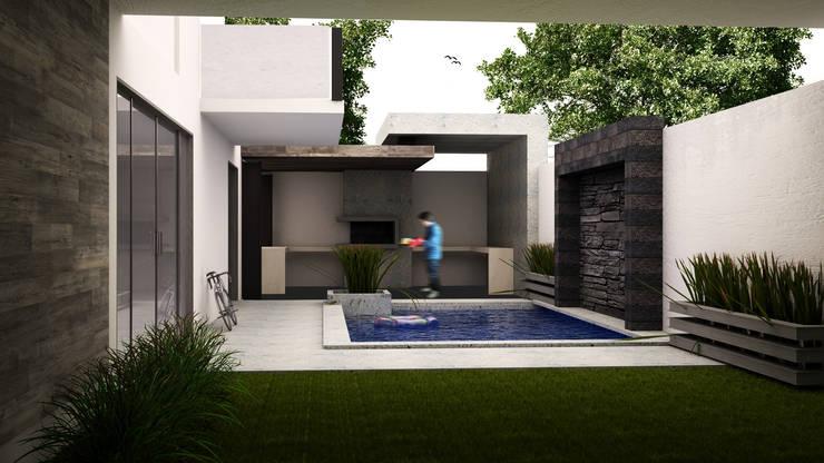 Alberca Moderna : Albercas de estilo  por GarDu Arquitectos , Minimalista Piedra