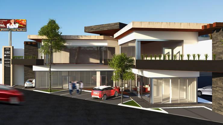 PLAZA COMERCIAL MINIMALISTA : Centros Comerciales de estilo  por GarDu Arquitectos , Minimalista Piedra