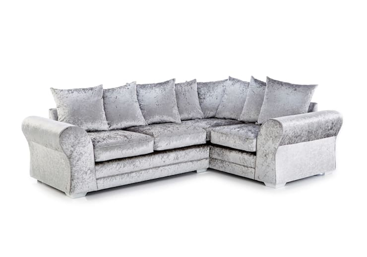 Silver Crushed Velvet Corner Sofa Living Room By Sofas In Fashion