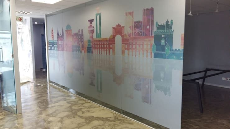 Frosted Vinyl Decals:  Study/office by Resurface Graphics, Modern