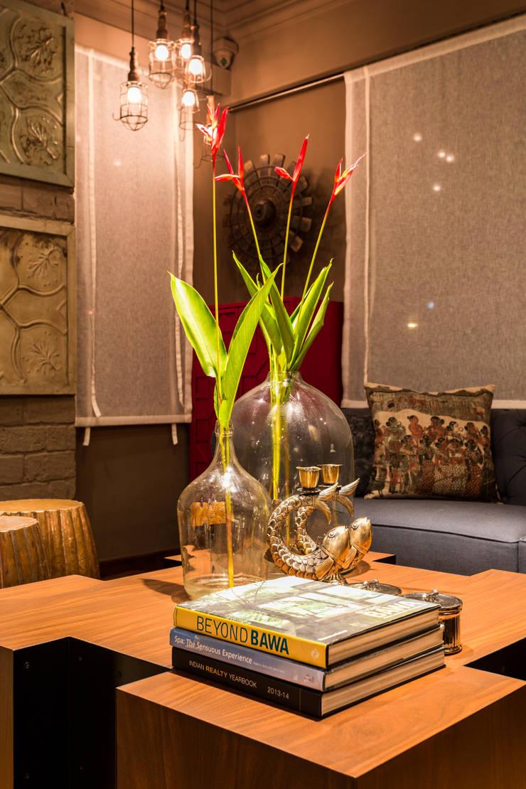 RUSTIC INTERIORS:  Living room by Turiya Lifestyle LLP,Rustic Wood Wood effect