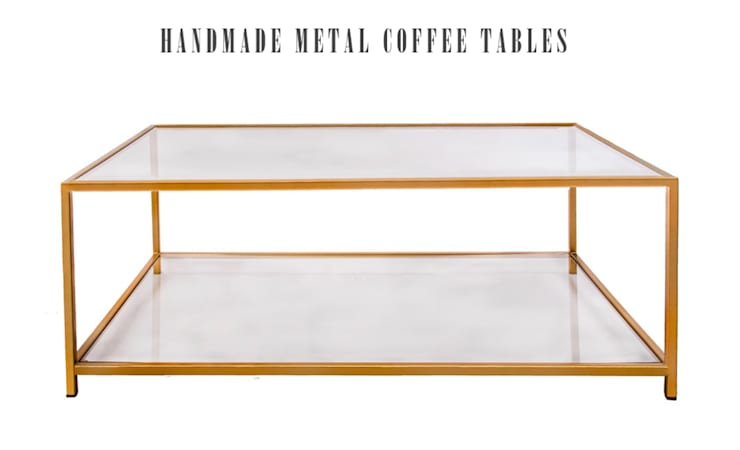 Contemporary Metal and Glass Coffee Table:  Living room by Andrew McQueen
