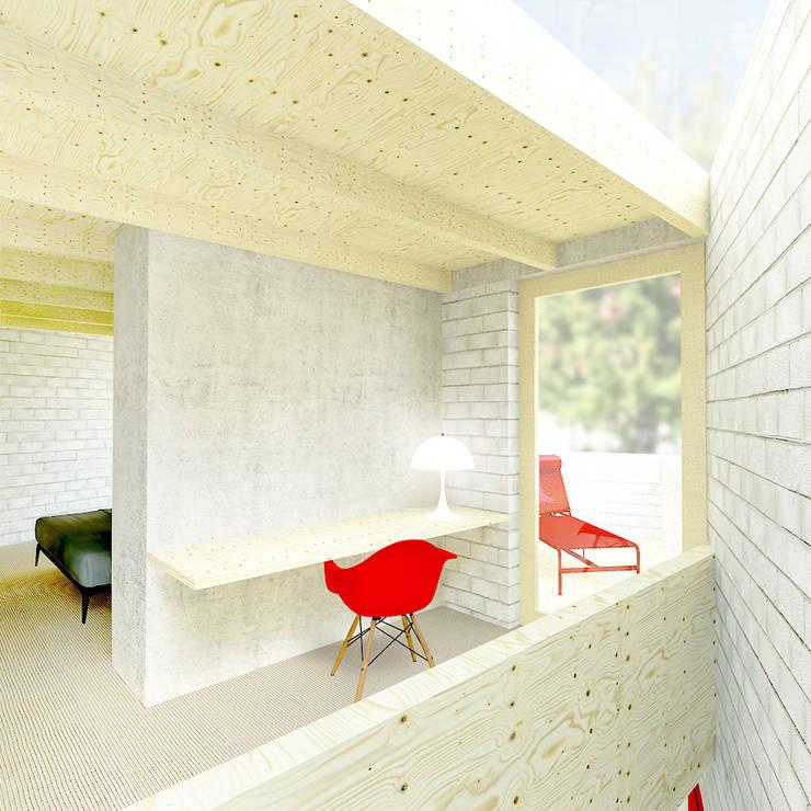 slaapkamer met studie en suite:  Studeerkamer/kantoor door De Nieuwe Context