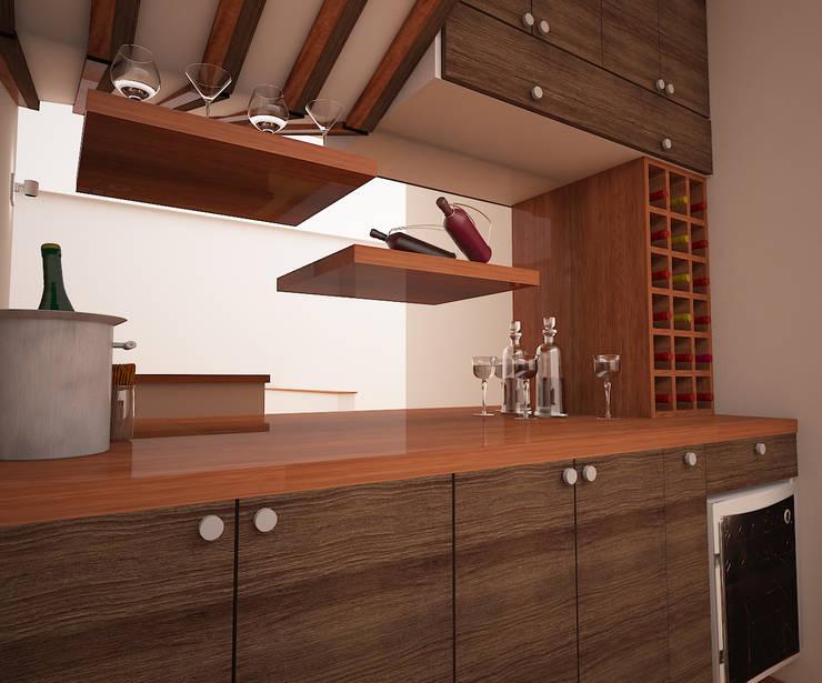 Zona de Bar: Bodegas de vino de estilo  por Spacio5,