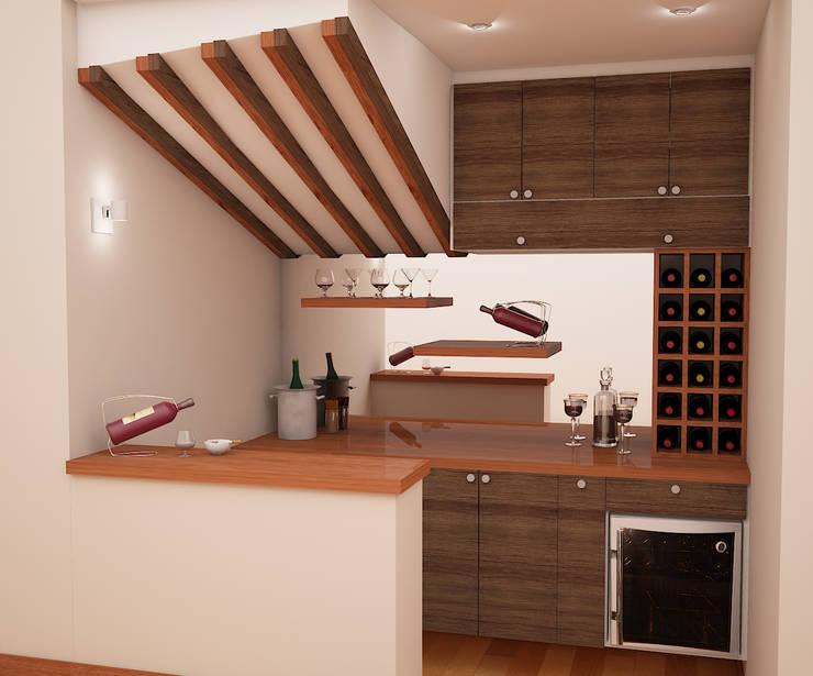 Zona de Bar de Spacio5 Clásico Madera Acabado en madera