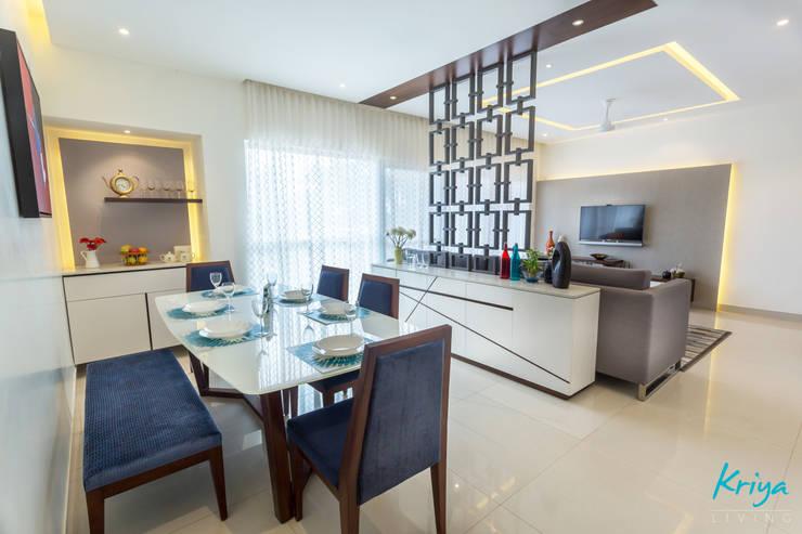 3 BHK apartment—RMZ Galleria, Bengaluru:  Dining room by KRIYA LIVING