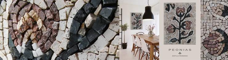 Peonias: Hogar de estilo  por GALIZIA V Mosaicos,