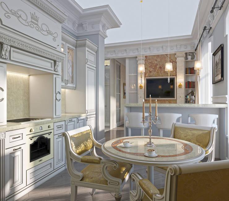 Nhà bếp by СТУДИЯ ДИЗАЙНА ЭЛИТНЫХ ИНТЕРЬЕРОВ АЛЕКСАНДРА ЕЛАШИНА.