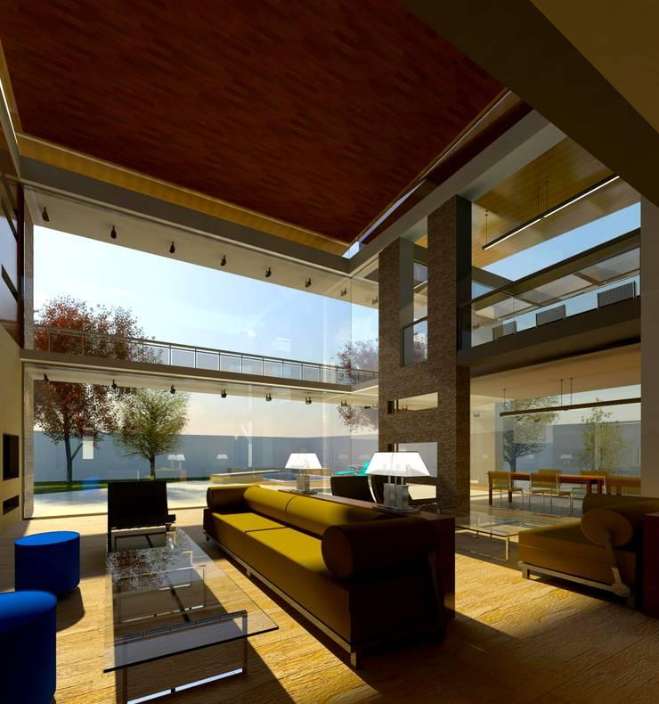 Modern House in Secunda /3:  Living room by Essar Design, Modern