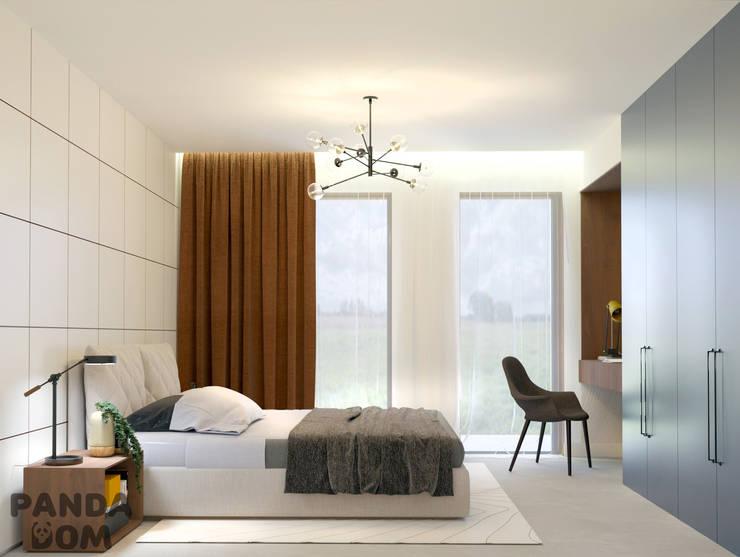 Современный дом в стиле минимализм: Спальни в . Автор – дизайн-студия PandaDom