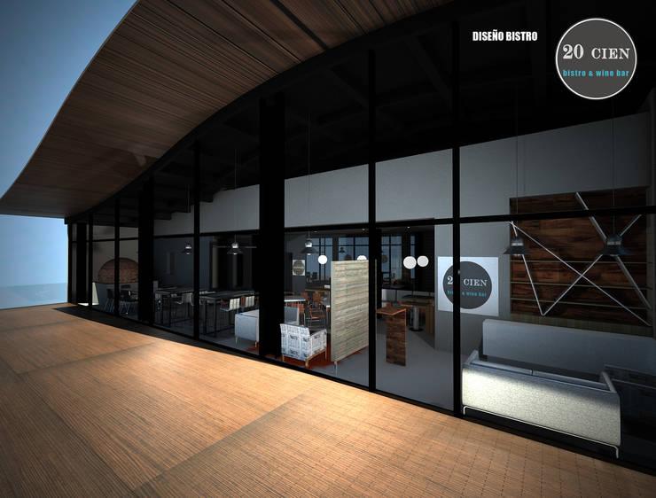 RESTAURANTE 20CIEN BISTRÓ QUERÉTARO: Espacios comerciales de estilo  por ARQUITECTURA SOSTENIBLE, Moderno