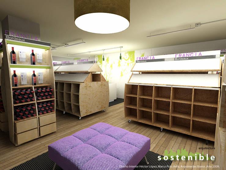 Interior tienda: Oficinas y tiendas de estilo  por ARQUITECTURA SOSTENIBLE, Moderno