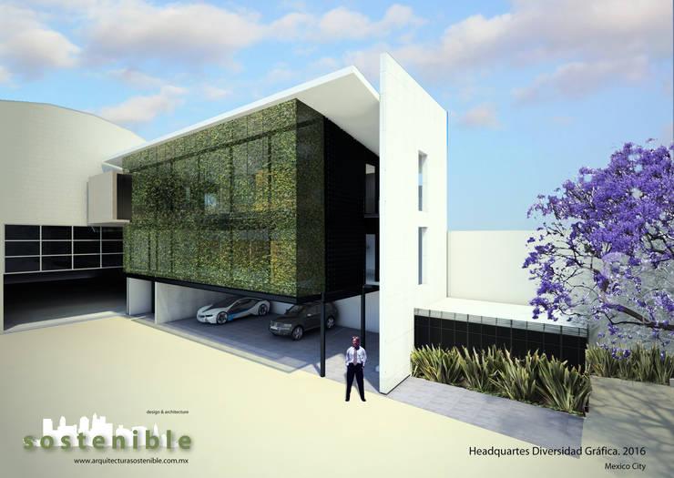 HEADQUARTES DIVERSIDAD GRÁFICA: Oficinas y tiendas de estilo  por ARQUITECTURA SOSTENIBLE, Moderno