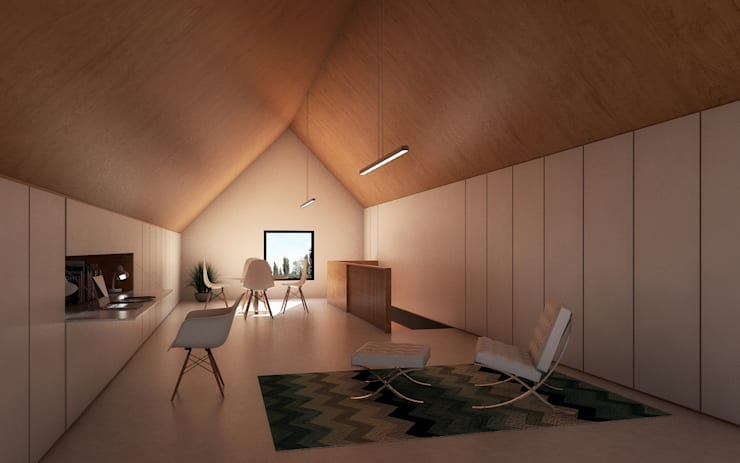 Vivienda Cabox: Estudios y oficinas de estilo  por BDB Arquitectura,