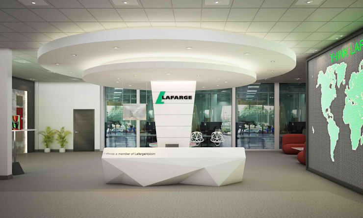 Lafarge Showroom, Iraq:  Offices & stores by Schaffen Amenities Private Limited