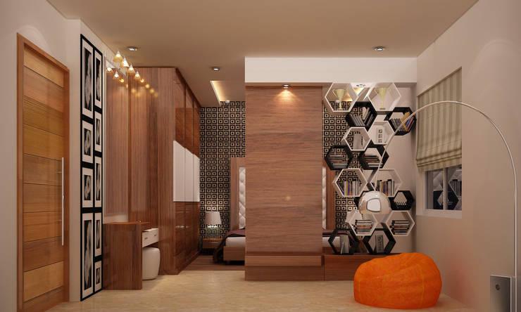 Kharvelanagar House, Bhubaneswar: modern Living room by Schaffen Amenities Private Limited